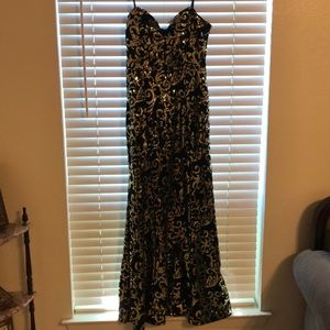 Strapless black & gold sequins gown